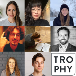Three rows of three photographs of the members of artist collective Trophy, with the bottom right image being their logo