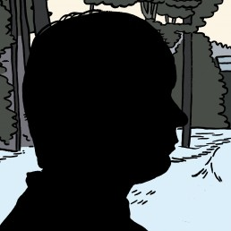 Digital art drawing of artist Patrick Allaby's silhouetted side profile